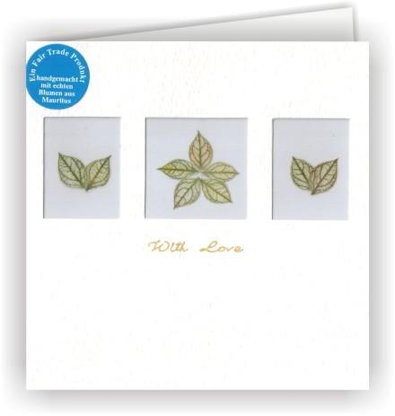 Set mit 6 Fair Trade Grußkarten With Love Blütenkarten - 3 Fenster