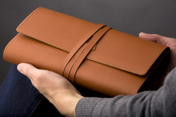 Bookcover MILANO | Size L | brown | real leather