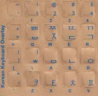 Tastaturaufkleber Koreanisch - blaue Schrift